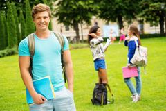 Man student in a city park Stock Photography