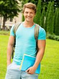 Man student in a city park Royalty Free Stock Images