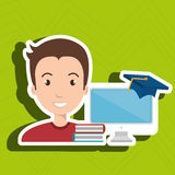 man student pc books Royalty Free Stock Images