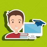 Man student pc books. Illustration eps 10 Royalty Free Stock Images
