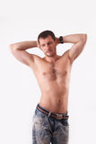 The man in the studio shirtless Stock Photography