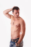 The man in the studio shirtless Royalty Free Stock Photo