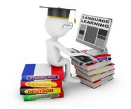 Man  studying language. Man sitting on dictionaries studying a foreign language on a computer. 3d rendering with Clipping Path Stock Photos