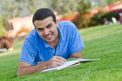 Man studying outdoors Royalty Free Stock Photo