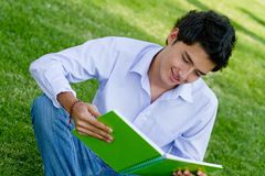 Man studying outdoors Royalty Free Stock Image