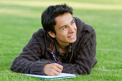 Man studying outdoors Stock Photos