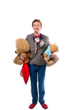 Man with stuffed animal Stock Images