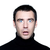 Man  stun surprised startle portrait. Caucasian man portrait expressing  stun surprised startle portrait  on studio isolated white background Royalty Free Stock Photography
