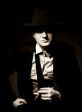 The man in style Chicago gangster with cigar Royalty Free Stock Image