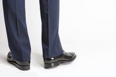 Man in Stylish Black Shiny Male Semi-Brogue Posing In Reversed P Stock Photos