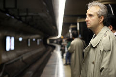 Man in subway Stock Photo