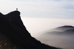 Man success top mountain view point Stock Photo