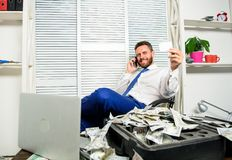 Man successful businessman phone conversation ask service. Businessman rich bearded guy sit office with lot of cash. Money. Bank loan or credit. Get cash in few royalty free stock photos