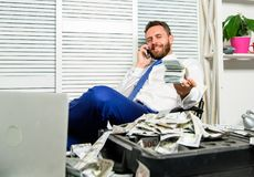 Man successful businessman phone conversation ask service. Businessman rich bearded guy sit office with lot of cash. Money. Bank loan or credit. Get cash in few stock photos