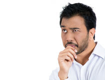 Man sucking his thumb and craving for something Stock Photos