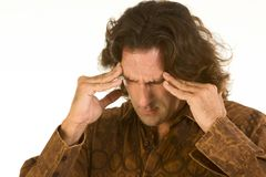 Man suffer from terrible headache and depression Stock Images