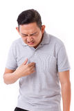 Man suffering from acid reflux. White isolated background Royalty Free Stock Photos