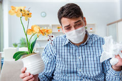 The man suffering from allergy - medical concept Stock Photos