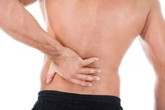 Man suffering from back pain Royalty Free Stock Images