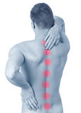 Man suffering from backache. Adult male with acute backache Stock Photography