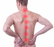Man suffering from backache. Adult male with acute backache Royalty Free Stock Images
