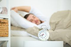 Man suffering from bad case insomnia. Man suffering from bad case of insomnia Stock Image