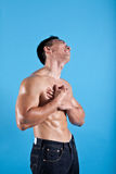 Man suffering from chest pain royalty free stock images