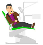 Man suffering in dental chair Stock Photos