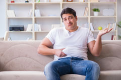 The man suffering from extra weight in diet concept Royalty Free Stock Images