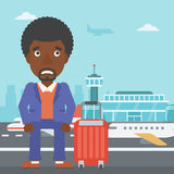 Man suffering from fear of flying. An african-american man frightened by future flight. Young man suffering from fear of flying. Phobia, fear of flying concept vector illustration