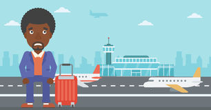 Man suffering from fear of flying. An african-american man frightened by future flight. Young man suffering from fear of flying. Phobia, fear of flying concept royalty free illustration