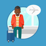 Man suffering from fear of flying. An african-american man frightened by future flight. Young man suffering from fear of flying. Phobia, fear of flying concept stock illustration