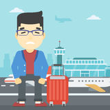 Man suffering from fear of flying. An asian man frightened by future flight. Young man suffering from fear of flying. Phobia, fear of flying concept. Vector royalty free illustration