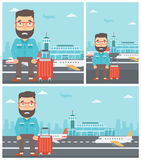 Man suffering from fear of flying. Hipster man with the beard frightened by future flight. Young man suffering from fear of flying. Phobia, fear of flying vector illustration
