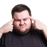 Man suffering from headache, isolated shot Royalty Free Stock Images