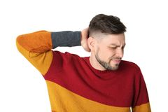 Man suffering from headache. On white background Royalty Free Stock Image