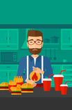 Man suffering from heartburn. A hipster man with the beard standing in the kitchen in front of table full of junk food and suffering from heartburn vector flat Royalty Free Stock Images