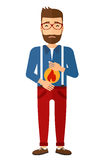 Man suffering from heartburn. A hipster man with the beard suffering from heartburn vector flat design illustration isolated on white background. Vertical layout Stock Photos