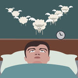 Man suffering insomnia funny cartoon Stock Image