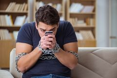 The man suffering from phone dependence addiction. Man suffering from phone dependence addiction Royalty Free Stock Images