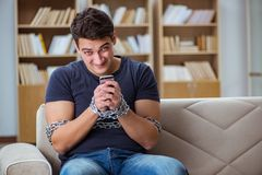 The man suffering from phone dependence addiction Stock Image