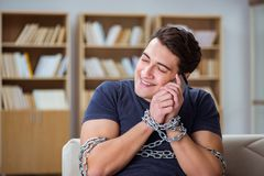 The man suffering from phone dependence addiction Royalty Free Stock Images