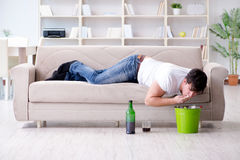 The man suffering from sick stomach and vomiting Royalty Free Stock Photography
