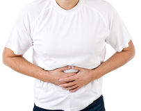 Man suffering from stomach pain isolated Stock Images