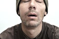 Man suffering from toothache, teeth pain, swollen face Stock Images