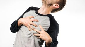 Man suffers from pain in the heart, myocardial infarction, heart attack Stock Photography