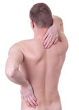 Man suffers from pain in the spine Stock Photo