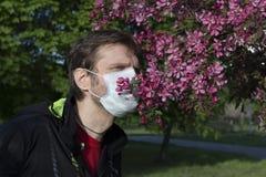 Man suffers from pollen allergy stock photos