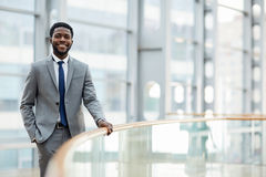Man in suit. African-american businessman wearing grey suit and tie stock images