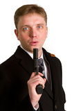 The man in a suit aims from a pistol Stock Photos